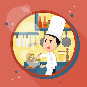 Szef kuchni przygotowuje się w kuchni. postać