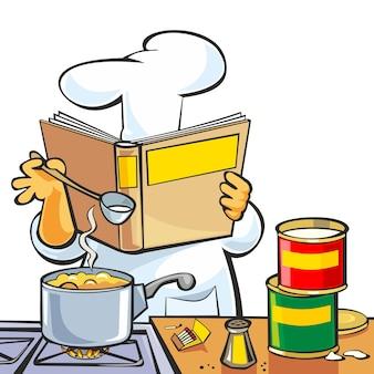 Szef kuchni przygotowuje zupę i trzyma książkę kucharską przepis na stole w restauracji kuchni wnętrza płaski wektor