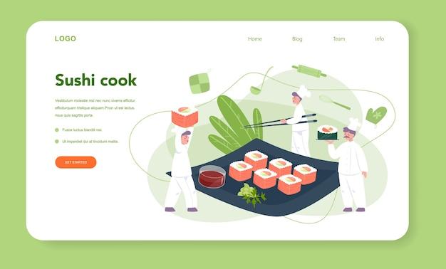 Szef kuchni restauracji gotuje bułki i baner internetowy lub stronę docelową sushi