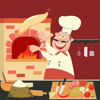 Szef kuchni robi pizzę w piecu. kuchnia pizzerii. ilustracji wektorowych