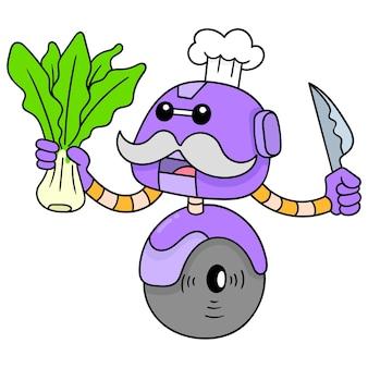 Szef kuchni robota niesie sałatę jako składnik żywności do gotowania, ilustracji wektorowych sztuki. doodle ikona obrazu kawaii.