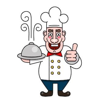 Szef kuchni serwujący jedzenie realistyczne kreskówki charakter projekt ilustracja wektorowa