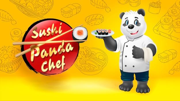 Szef kuchni sushi panda. ilustracja clipart.