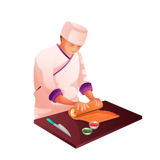 Szef kuchni sushi w kuchni płaski charakter