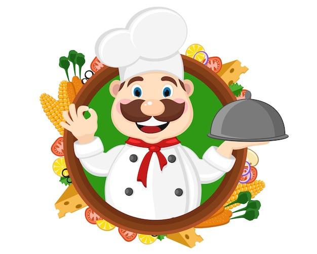 Szef kuchni trzyma tacę i pokazuje klasę, z zewnątrz widać świeże jedzenie na białym tle.