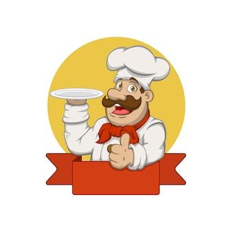 Szef kuchni trzyma talerz na logo maskotki po prawej stronie