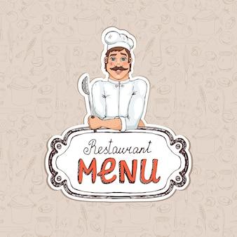 Szef kuchni trzymając łyżkę na rysunku menu restauracji na okładkę lub ogłoszenie