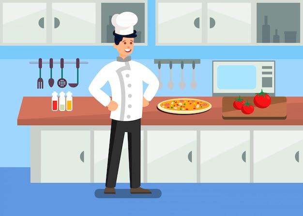 Szef kuchni w profesjonalnej kuchni ilustracja kreskówka