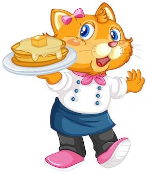 Szef kuchni z deserami dla kotów