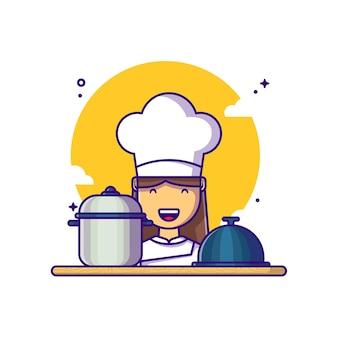 Szef kuchni z ilustracja kreskówka sprzęt. dzień pracy koncepcja biały na białym tle. płaski styl kreskówki
