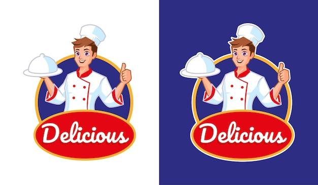 Szef kuchni z logo maskotki pyszne jedzenie