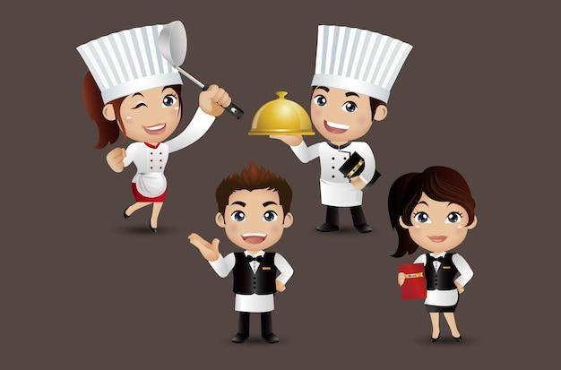 Szef kuchni z różnymi pozami