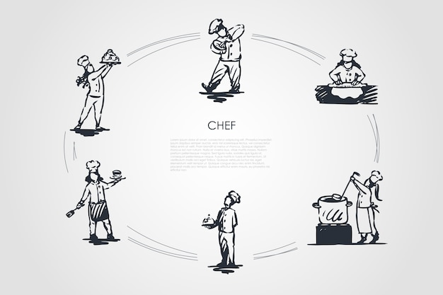 Szef kuchni zestaw ilustracji