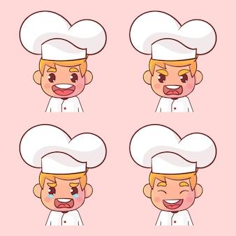 Szef kuchni zestaw wyraz twarzy na białym tle na różowo