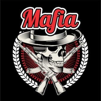 Szef mafii z dwoma skrzyżowanymi pistoletami maszynowymi.