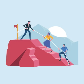 Szef prowadzący pracę zespołową do szczytu sukcesu