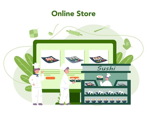 Szef restauracji gotuje bułki i sushi usługa lub platforma online