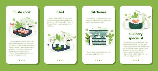 Szef restauracji gotuje bułki i zestaw banerów aplikacji mobilnej sushi