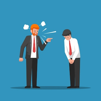 Szef się gniewa i obwinia swojego pracownika.