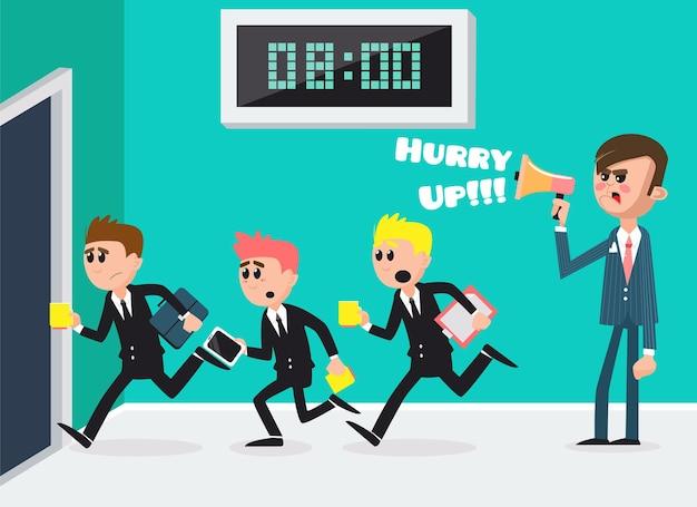 Szef z megafonem. pracownicy biegnący do biura. biznesmeni do pracy. ilustracja wektorowa