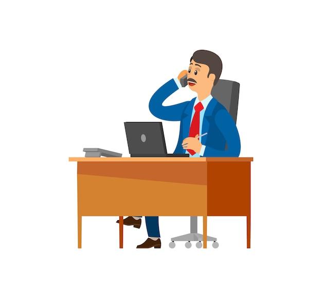 Szefie, dyrektor generalny rozmawia przez telefon komórkowy