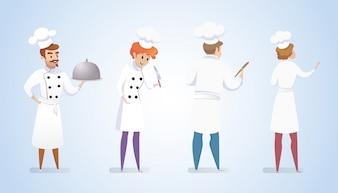 Szefów kuchni restauracji grupy na białym tle niebieski