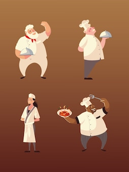 Szefowie kuchni kobieta i mężczyźni z ilustracją postaci jedzenia i widelca