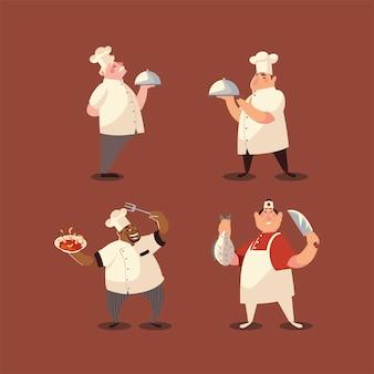 Szefowie kuchni w białym mundurze pracownika profesjonalnej restauracji zestaw ilustracji wektorowych