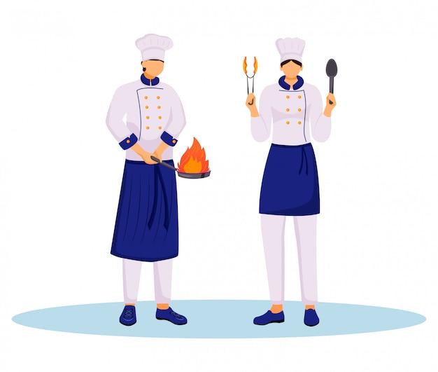Szefowie kuchni z kulinarnych naczyń koloru płaską ilustracją.
