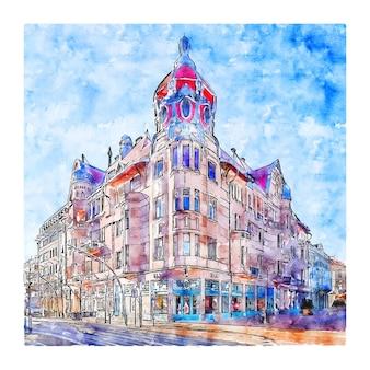 Szeged hiszpania szkic akwarela ręcznie rysowane ilustracji