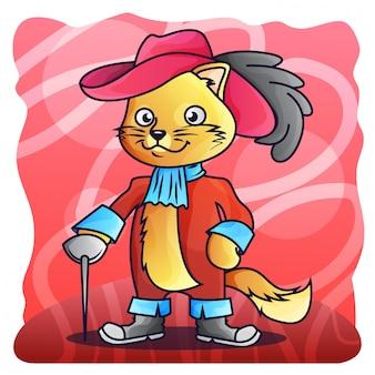 Szermierczego kota matador gradientowy ilustracyjny wektor