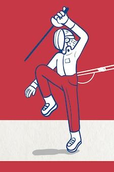 Szermierz ćwiczący szermierkę wektor znaków