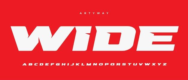 Szeroka litera alfabetu czcionka sport logo typografia rozszerzona pogrubiona wektor typograficzny projekt ostre kąty