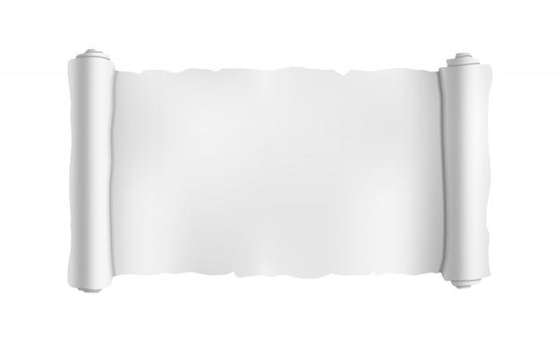 Szeroki pusty stary zwój, plan rolki szablon na białym tle