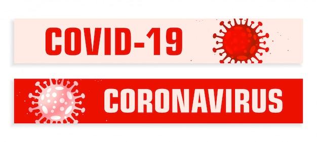 Szerokie banery covid19 koronawirusa ustawione w czerwonych odcieniach