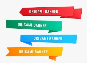 Szerokie banery origami w stylu wstążki
