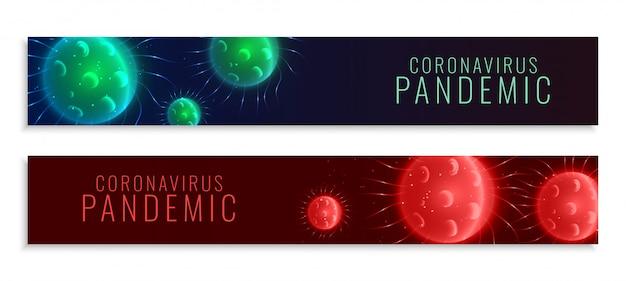 Szerokie banery pandemiczne koronawirusa ustawione w dwóch kolorach