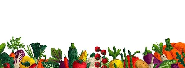 Szerokie poziome tło warzyw.
