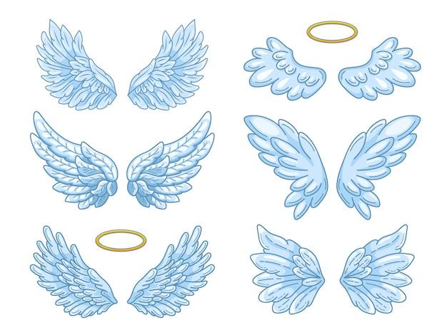 Szeroko rozprzestrzenione niebieskie skrzydła anioła ze złotą aureolą.