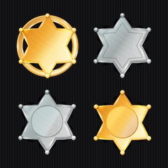 Szeryf odznaka gwiazda wektor zestaw. różne rodzaje. klasyczny symbol. miejski wydział ds. egzekwowania prawa miejskiego. wyizolowany na czarny