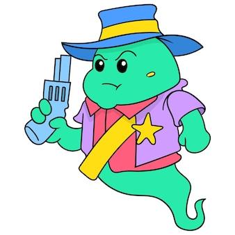 Szeryf policji nosi zły w obliczu pistoletu, ilustracji wektorowych sztuki. doodle ikona obrazu kawaii.