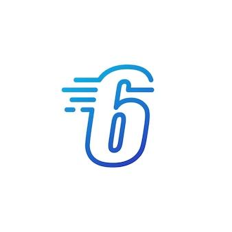 Sześć 6 cyfr kreska szybko szybki cyfrowy znak zarys linii logo wektor ikona ilustracja