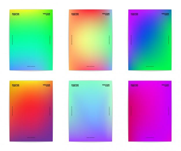 Sześć abstrakcyjnych szablonów plakatów. kolorowe gradienty