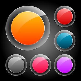 Sześć błyszczących szklanych przycisków w różnych kolorach