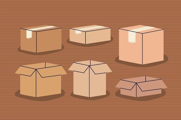 Sześć brązowych pudełek