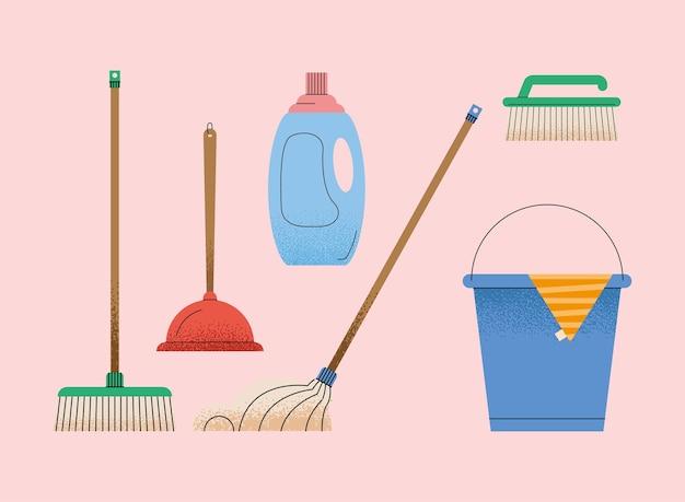 Sześć dbających o ikony gospodarstwa domowego