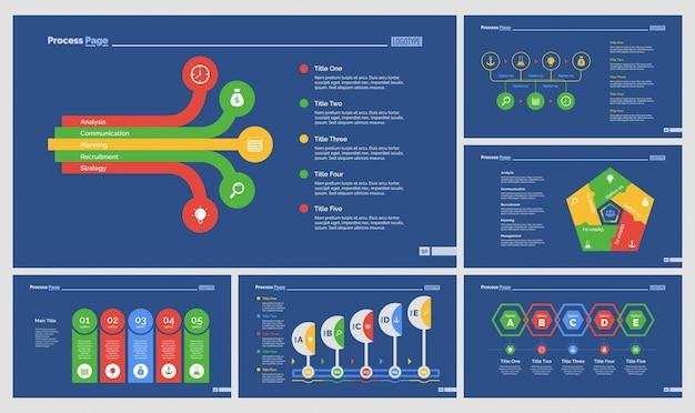 Sześć diagramów przepływu pracy zestaw szablonów slajdów