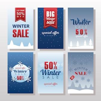 Sześć dużych zimowych napisów wyprzedaży z wstążkami i ilustracją płatków śniegu