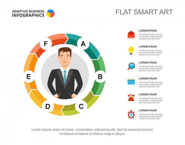 Sześć elementów szablon wykresu przepływu dla prezentacji. wizualizacja danych biznesowych.