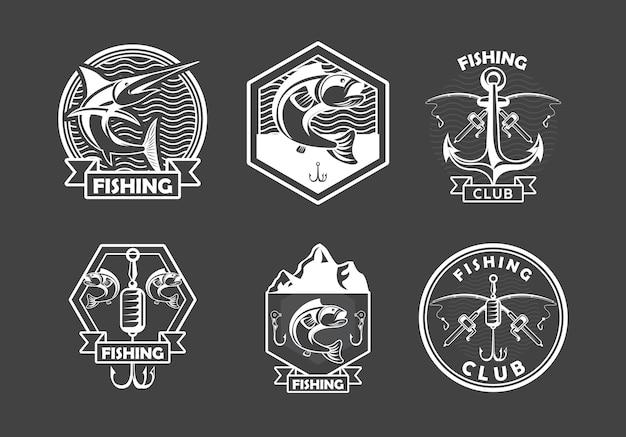 Sześć emblematów wędkarskich